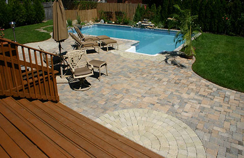 brick patio poolscape